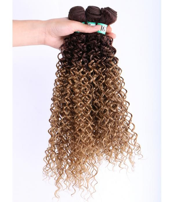 Synthetic Hair Extensions 3 Bundles Kinky Curly Wa...