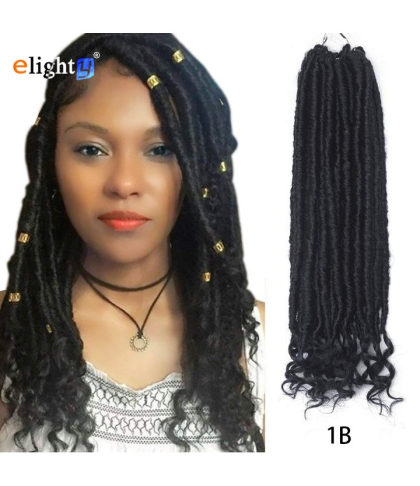 Wavy Crochet Hair | Goddess Faux Locs | Crochet Hair Braids Fiber Hair Extensions 3 Packs 18''