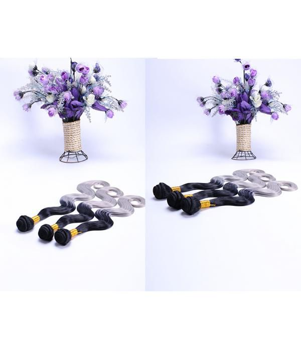 3 Bundles Ombre Body Wave T1B/Gray Hair Extensions Synthetic Hair Wefts (16 18 20)