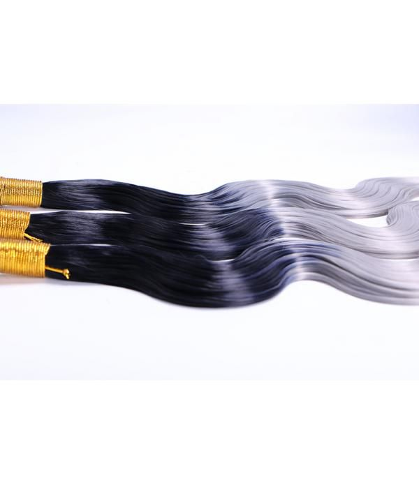 Ombre Braiding Hair | Body Wave Bundles | Synthetic Hair Extensions 3 Bundles Fiber Hair T1B/Gray (16 18 20 Inches)