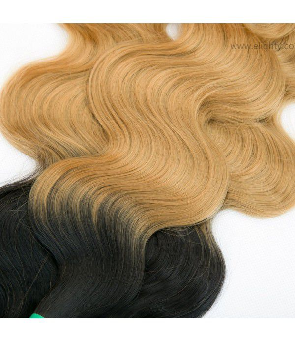 Body Wave | Ombre Hair Extensions | Synthetic Hair Extensions Wefts 3 Bundles  (16 18 20 Inches) T1B/99J Color
