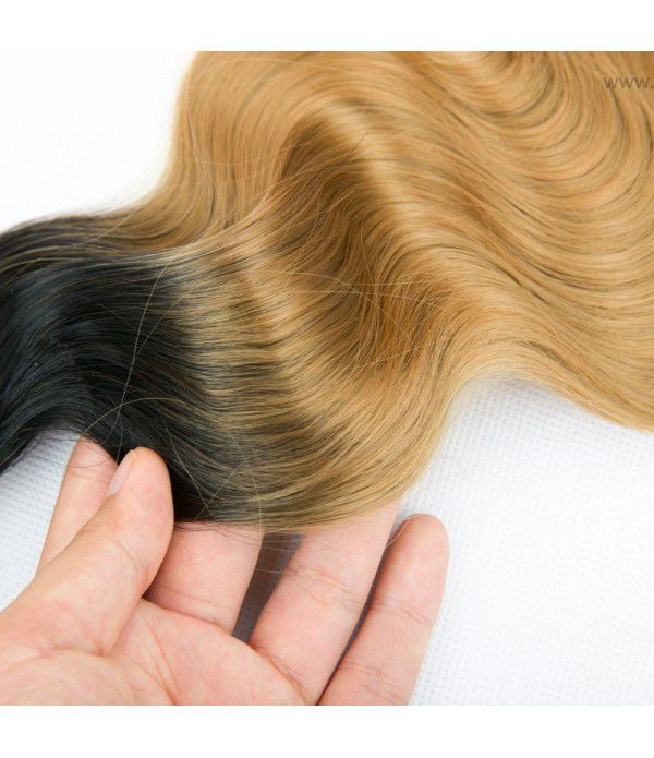 3 Bundles Body Wave T1B/99J Ombre Hair Extensions Synthetic Hair Wefts (16 18 20)