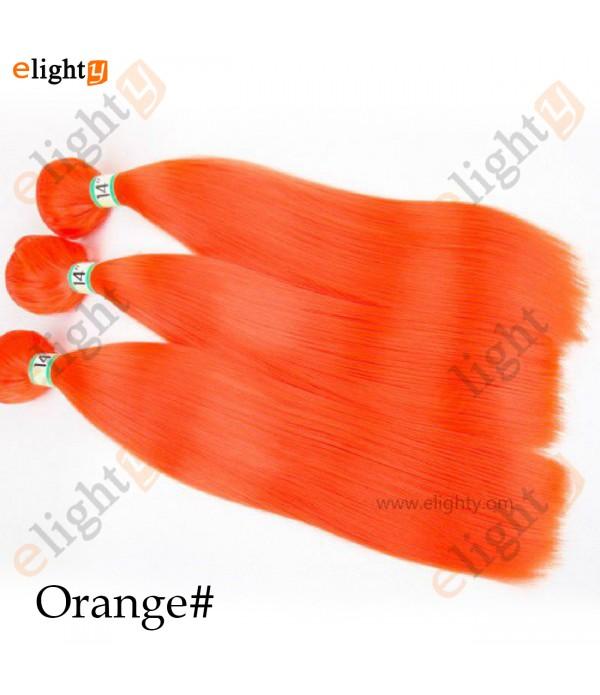 3 Bundles Synthetic Hair Extension Yaki Straight Weaving 100% Kanekalon Fiber Hair