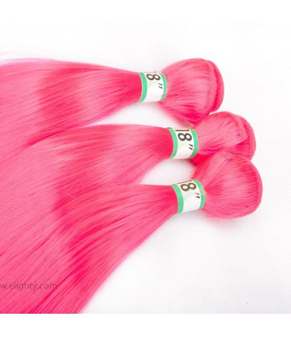 Synthetic Fiber Silk Straight Hair Weft Bundles Extension for Women (Color pink)