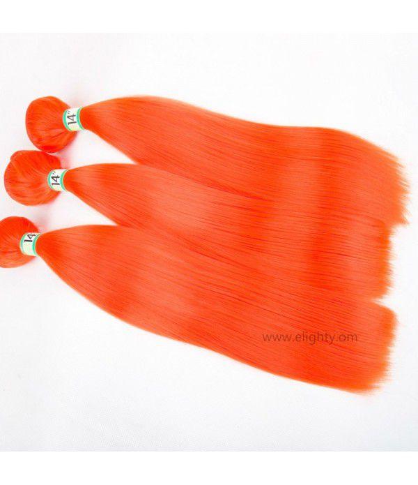 Synthetic Fiber Silk Straight Hair Weft Bundles Extension for Women (Color orange)