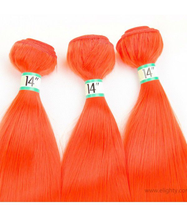 Fiber Hair Silk Straight Hair Synthetic Hair Extensions For Women 3pcs/lot 18 inches (Color Orange)