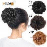Rubber Scrunchie Curly Messy Bun Hair