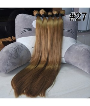 24 inch Synthetic Fiber Silk Straight Hair Weft Bundles Extension for American Girl Doll Wigs (27#)