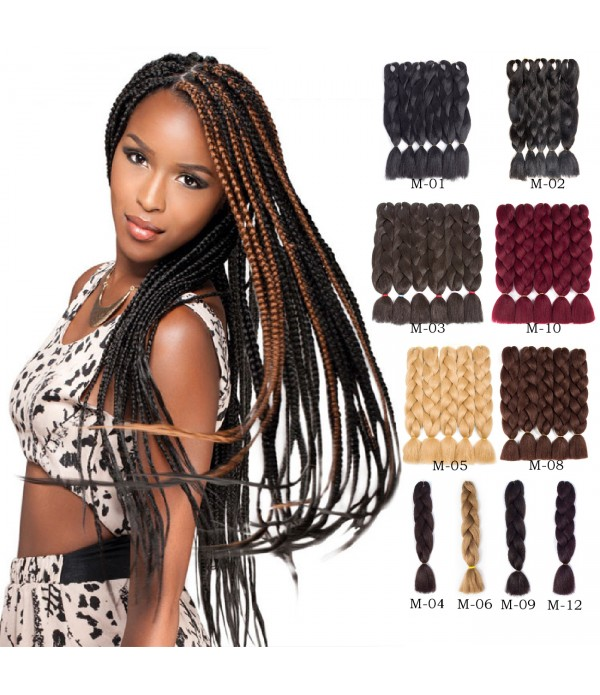 5Pcs/Lot 24 inch Jumbo Box Braids Kanekalon Synthe...