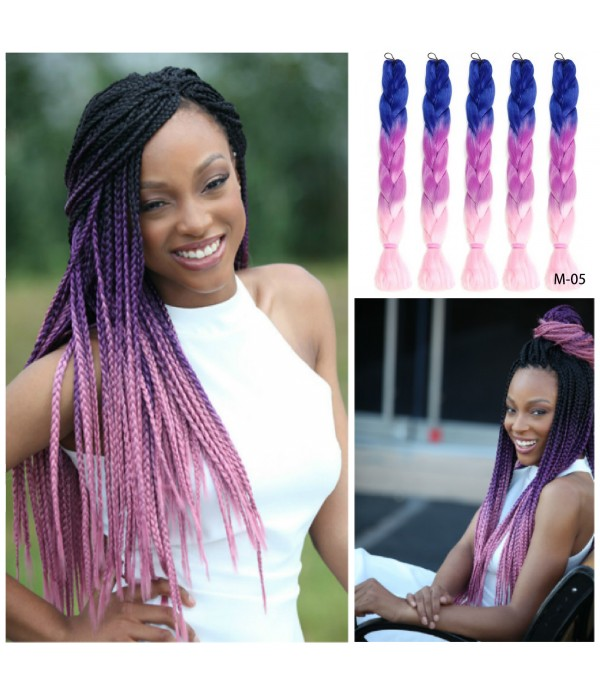 24 Inch 4 Packs 3 Tone Xpression Braiding Hair Jum...