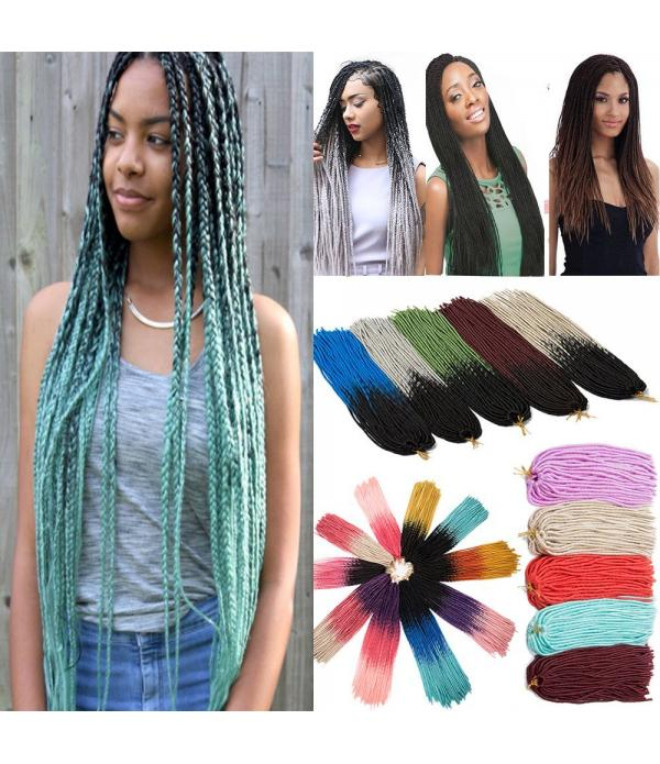 24 inch 3packs/lot Sky Blue Crochet Faux Locs Kane...