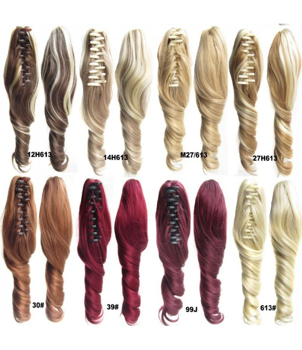 16 Inch Synthetic Hair Pieces Wavy Claw Clip Hair Cosplay Wig Ponytail Hair Extensions 90 g/Pcs