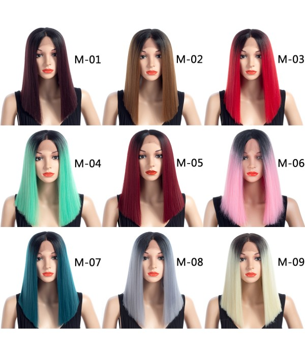 16 Inch Short Straight Wigs Ladies Ombre Color Syn...