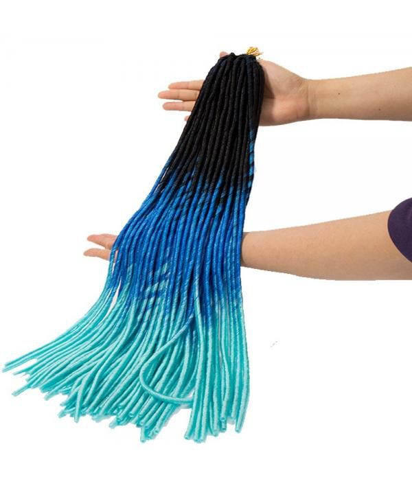 "3packs/lot 24"" Ombre Box Braids kanekalon hair Fiber Braiding Hair Black to Dark Blue to Sky Blue"