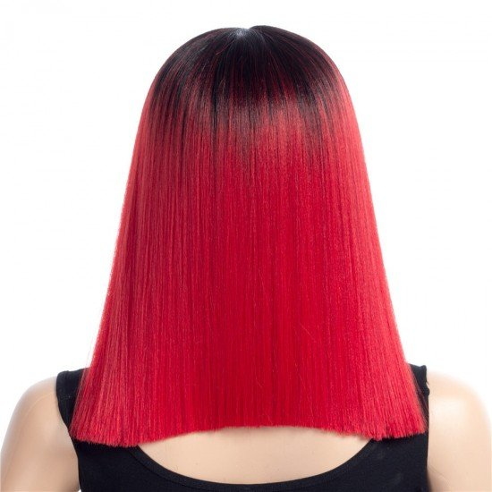 16 Inches Short Straight Wigs Ombre Color