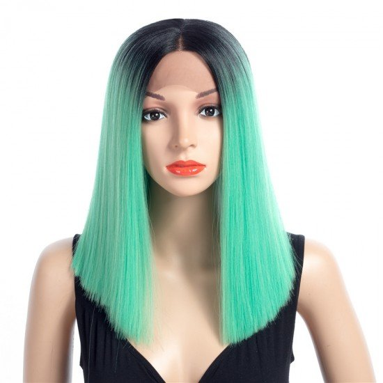 16 Inch Short Straight Wigs Ombre Color