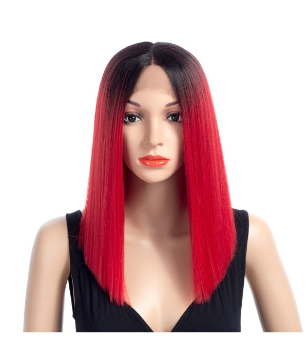 16 Inch Short Straight Wigs Ladies Ombre Color Synthetic Hair Natural Looking Mix Color Wig