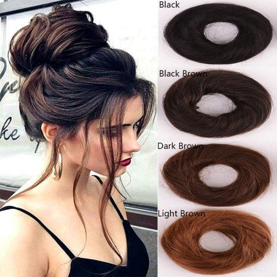 Human Bun Donut Messy Hair Extensions