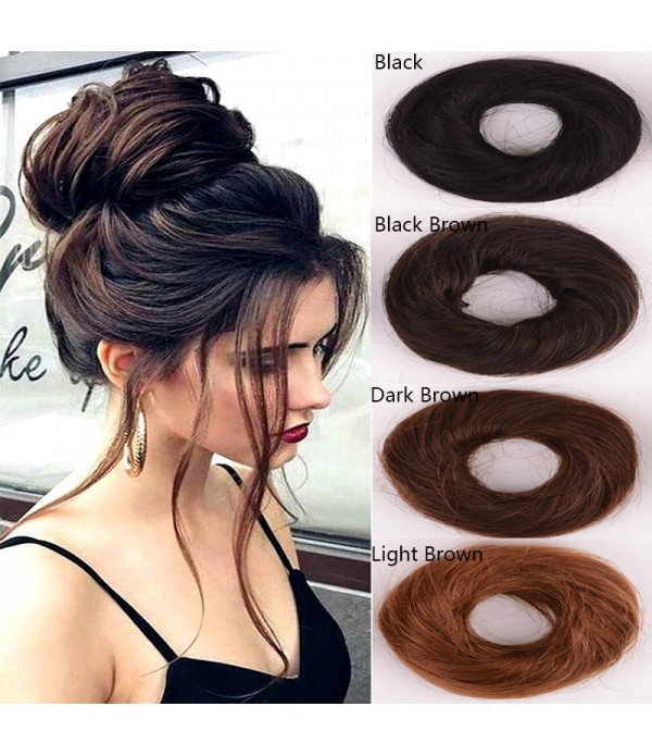 Human Hair Bun Extensions Wavy Curly Messy Hair Ex...