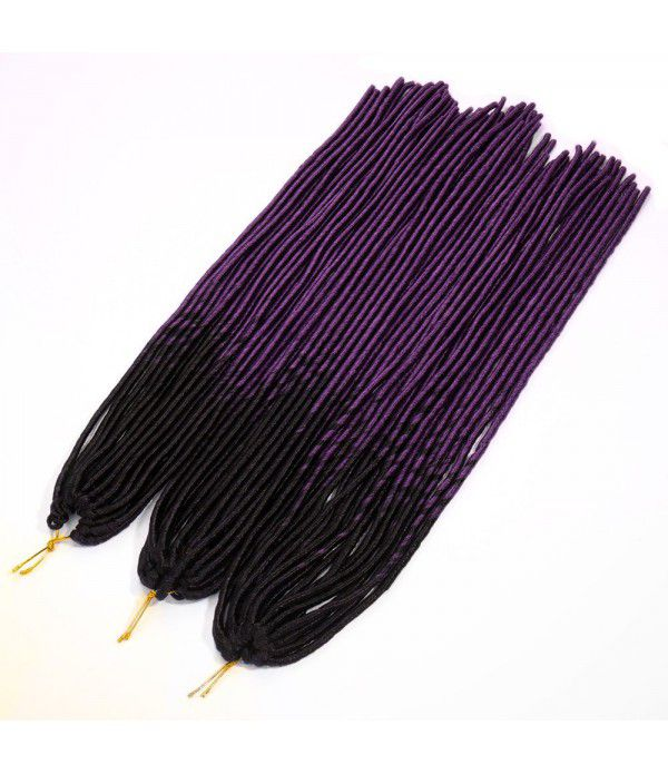 "3packs/lot Many Colors 24"" Braids Synthetic Hair Extensions Faux locs Kanekalon Fiber Braiding Hair Afro Kinky (Black to Dark Purple)"