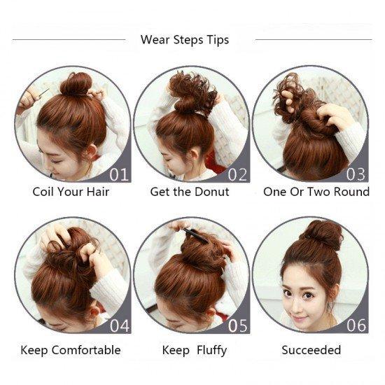 Human Bun Donut Messy Hair Extensions