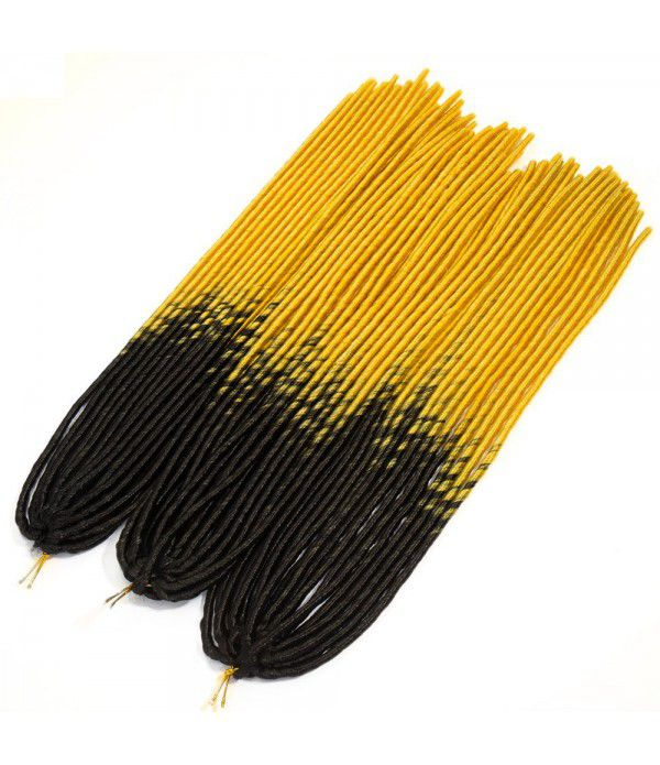 "3 packs/lot Many Colors 24"" Braids Synthetic Hair Extensions Faux locs Kanekalon Fiber Braiding Hair (Black to Light Gold)"