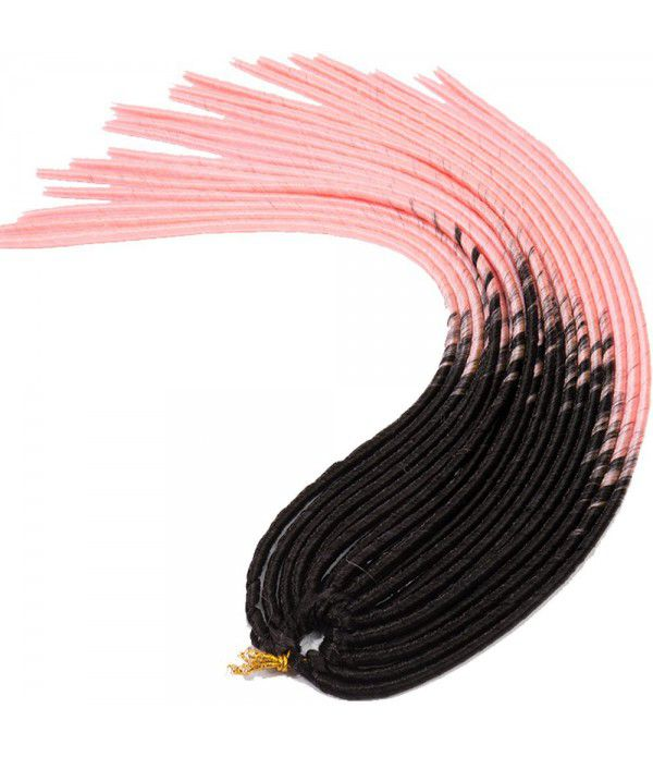 "3packs/lot Many Colors 24"" Braids Synthetic Full Head Hair Extensions Fauxlocs Kanekalon Fiber Braiding Hair Afro Kinky Soft Dreadlocks(Black to Pink)"