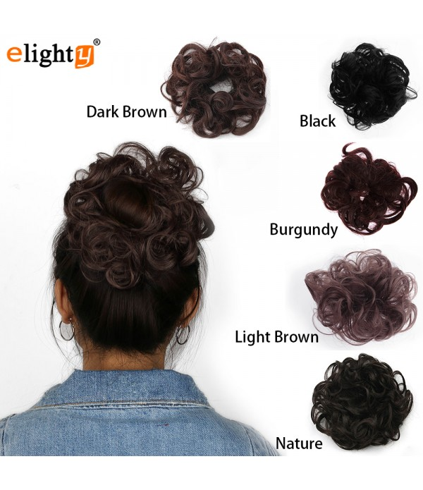 Human Hair Bun Wavy Curly Messy Hair Extensions Ch...