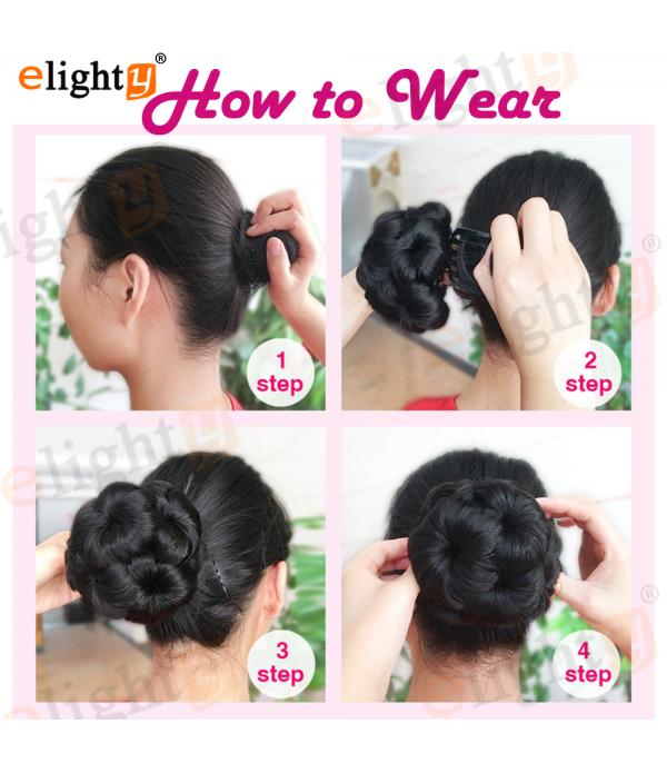 Synthetic Hair Accessories  Nine Flowers Chignon Hair Pieces  6 Colors Bun for Women  Plastic Comb Inside