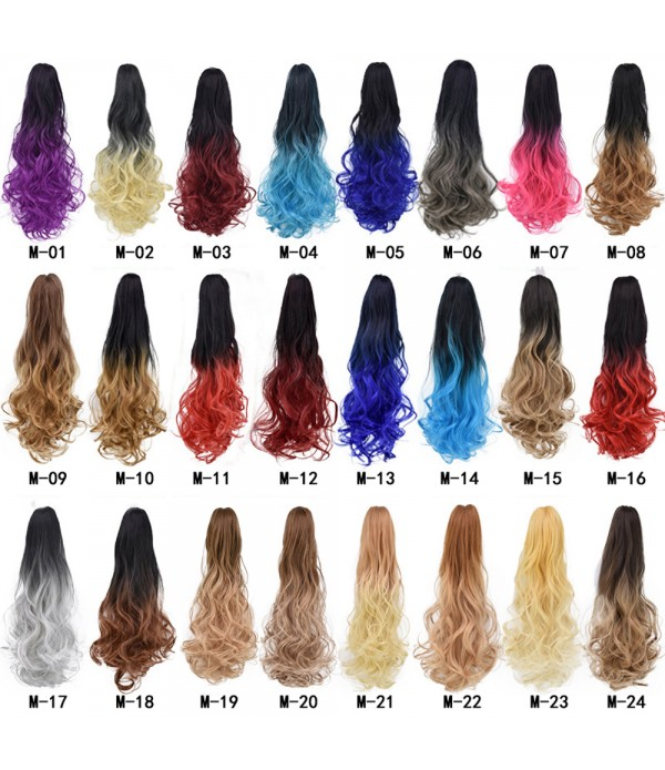 Ombre Color Claw Ponytail Wavy Claw Curly Syntheti...