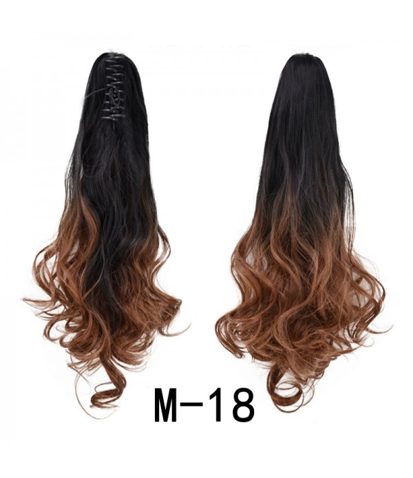 Ombre Color Claw Ponytail Wavy Claw Curly Synthetic Pony Tail Clip in Ponytail Extensions