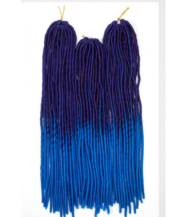 3 packs/lot Dread Braids Synthetic Hair Extensions Afro Kinky Soft Dreadlocks (Dark Blue to Light Blue)