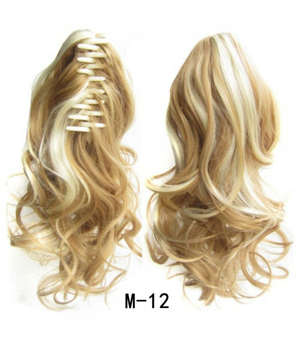 16 Inch Curly Drawstring Ponytail Synthetic Hair Extensions Wavy Claw Clip In Cosplay Wig Hair Pieces