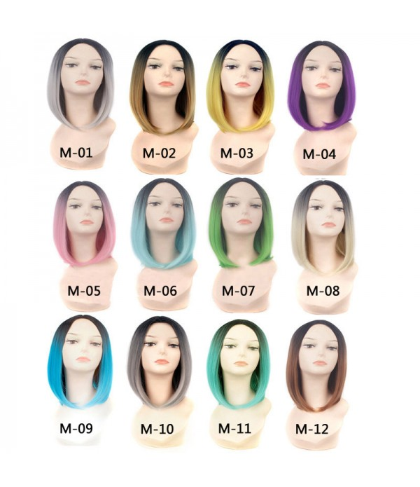 14 Inch Ombre Wigs Cheap Short Bob Synthetic Wigs ...