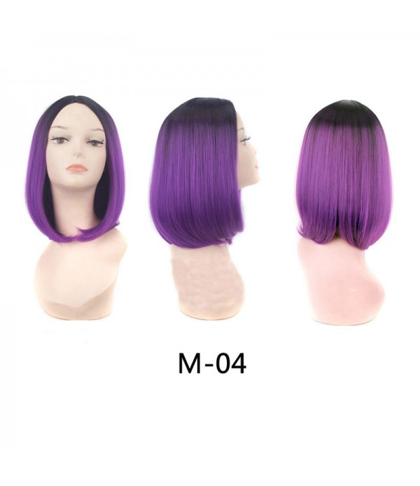 14 Inch Ombre Wigs Cheap Short Bob Synthetic Wigs For Women Purple Colorful Party Wig
