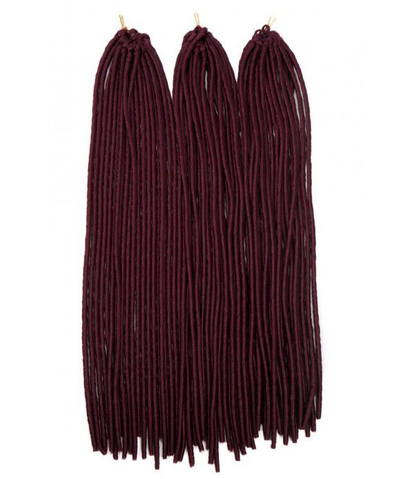 "3packs/lot Many Colors 24"" Braids Synthetic Full Head Hair Extensions Fauxlocs Kanekalon Fiber Braiding Hair Afro Kinky Soft Dreadlocks(Wine Red)"