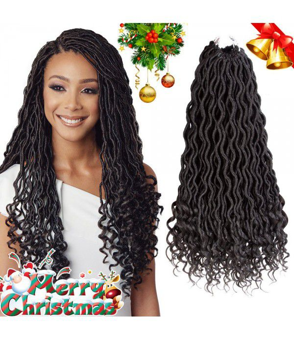 Curly Faux Locs Crochet Hair Deep Wave Braiding Hair With Curly Ends Crochet Goddess Locs Synthetic Braids Hair Extensions (20inch, 1B#)