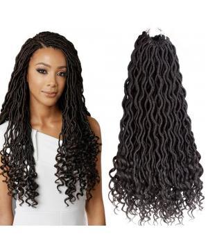 Faux Locs Curly Ends | Deep Wave Crochet Hair | Curly Crochet Faux Locs Kanekalon Braiding Hair (20 inches 1B#)