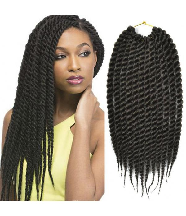 Havana Mambo Twist Crochet Hair Braids Jumbo Senegalese Twist Crochet Braids Synthetic Crochet Braiding Hair Extensions (#1B 12inch)