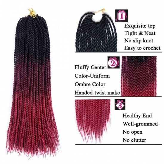 6 packs Senegalese Twist Colorful Box Braids Hair
