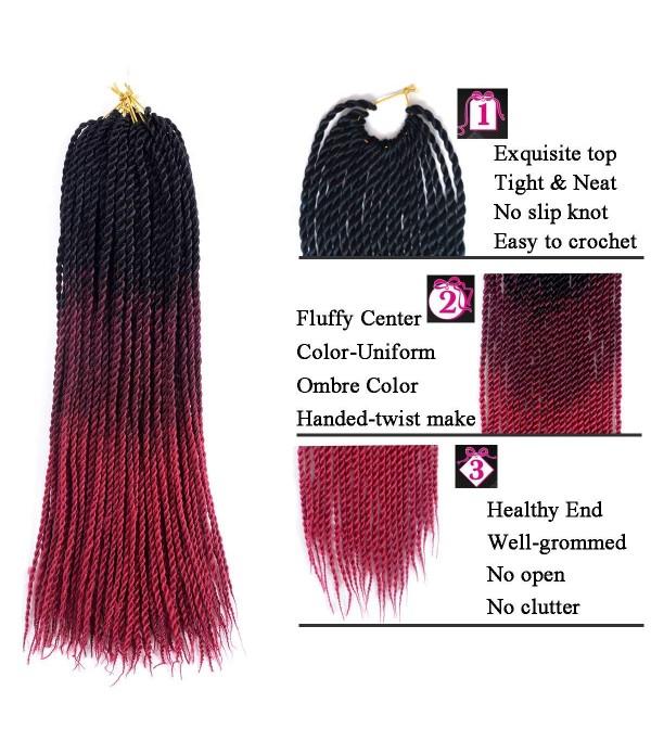 3 Packs 24 Inch Jumbo Senegalese Twist Box Braids Havana Mambo Twist Crochet Braids Ombre Braiding Hair Extensions