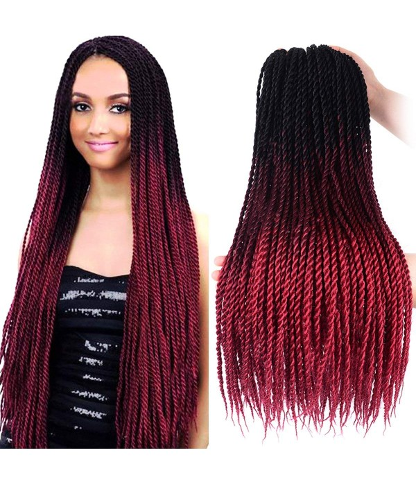 3 Packs 24 Inch Jumbo Senegalese Twist Box Braids Havana Mambo Twist Crochet Braids Ombre Braiding Hair Extensions