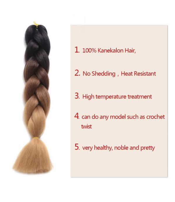 Xpression Hair ombre braiding hair Synthetic Braiding Hair Extensions Kanekalon Hair Ombre Twist Braiding Hair Extensions - Elighty Hair