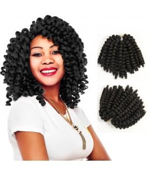 African Hair Braiding | Jamaican Bounce Hair | Havana Mambo Twist | Fiber Hair Wand Curly Braids 8 inches Black color 22 Roots/Pack