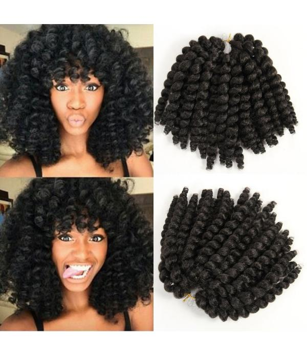 African Hair Braiding | Jamaican Bounce Hair | Havana Mambo Twist | Fiber Hair Wand Curly Braids 8 inches Black color 22 Roots/Pack