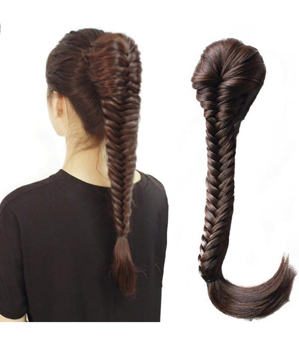 Cute Long Fishtail Braid Ponytail Extension fishbone braids Ponytail Hairpiece fishtail braided