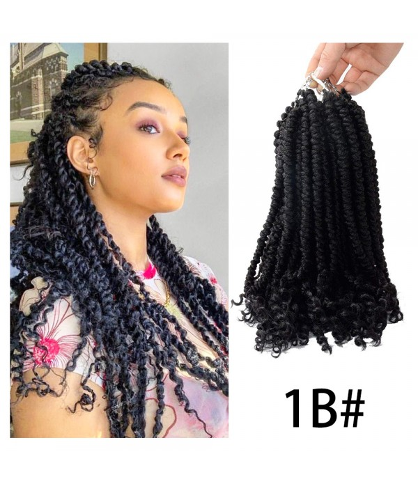 "12"" Spring Senegalese Twist Crochet Hair for Beauty (12 Roots/Piece, 6 Pieces) Curly End Havana Mambo Crochet Braids For Women"