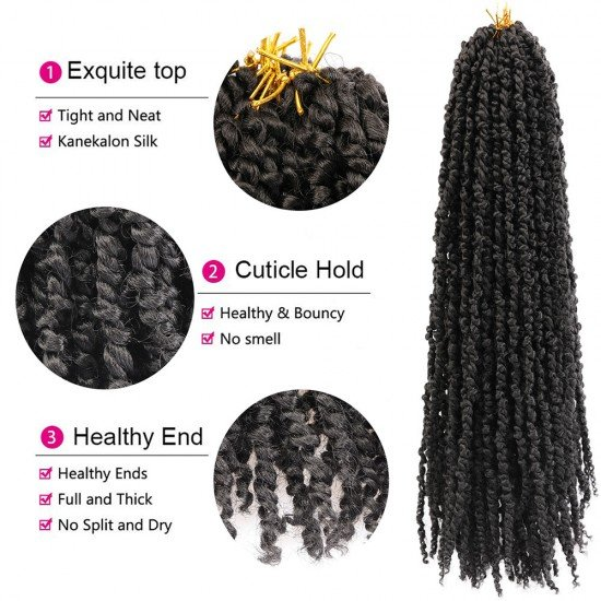 7 Packs Pre-twisted Passion Twists Crochet Hair