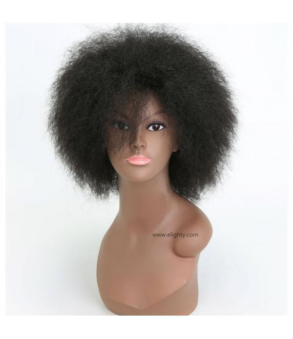 Hair Synthetic Short Kinky Curly Afro Wig Super Fluffy Wigs for Women(Color 1B#)