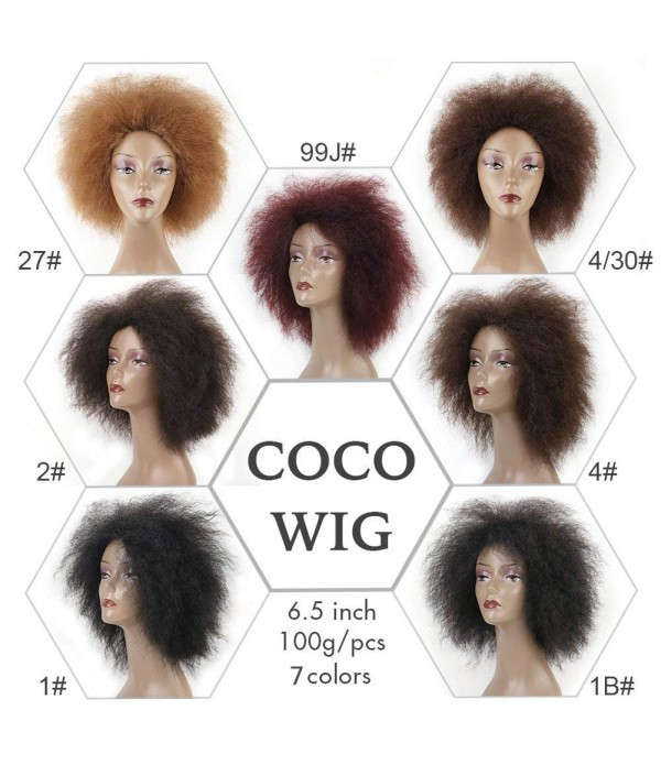 COCO Hair Synthetic Short Kinky Curly Afro Wig Sup...